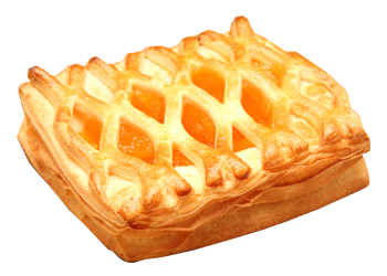 Peach puff pastry filled